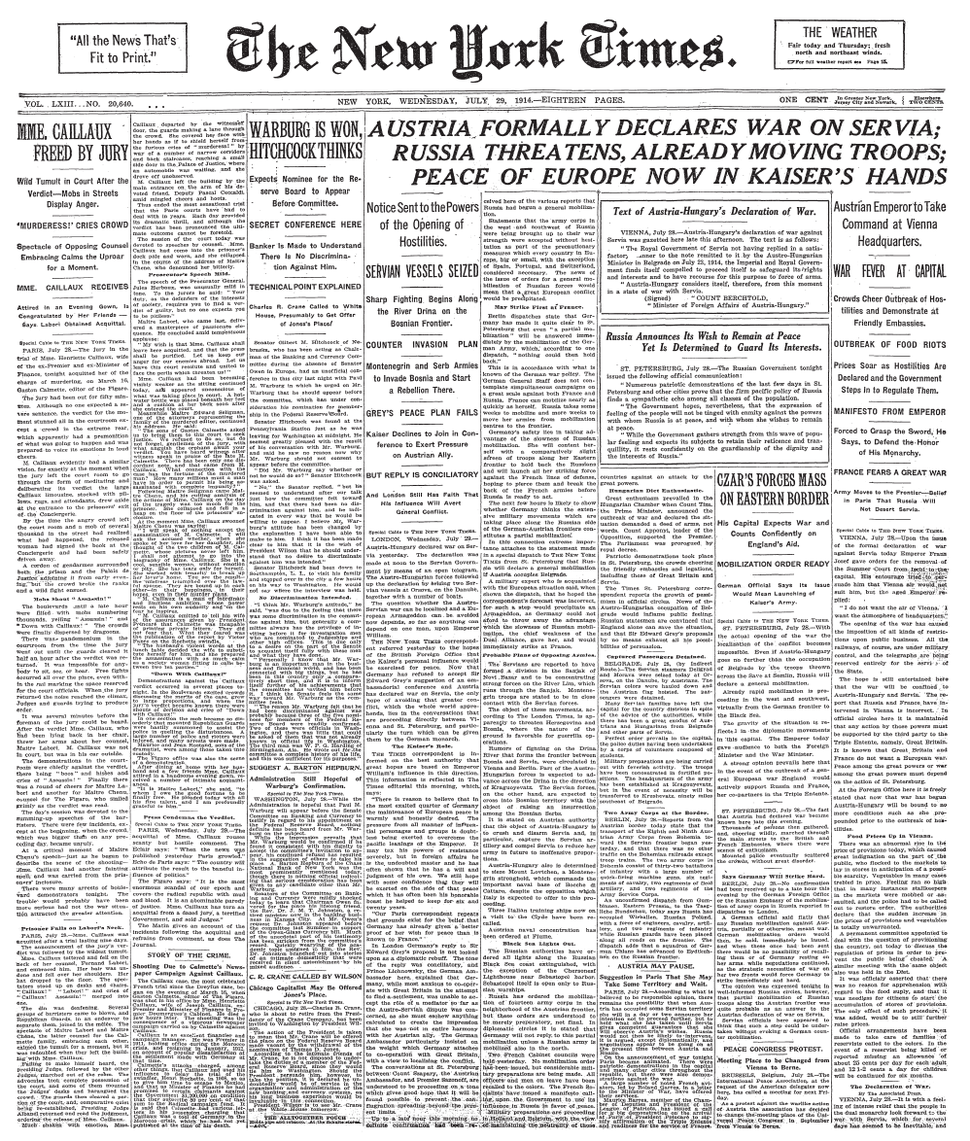 New York Times Frontpage 1914-07-29