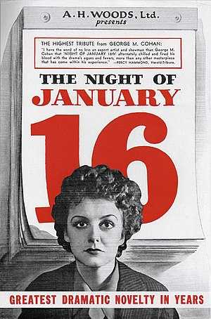 Night of January 16th - Flyer for the Broadway production