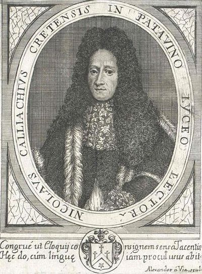 Nicholas Kalliakis was a significant Renaissance humanist, scholar and philosopher from Heraklion. Nikolaos Kalliakis (1645 - 1707).jpg