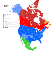 Map showing Non-Native American Nations Control over N America c. 1905