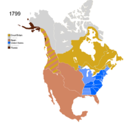 Map showing Non-Native Nations Claim_over NAFTA countries c. 1799