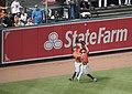 Nori Aoki and Jake Marisnick near collision in left-center field.jpg