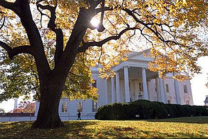 White House basement - An autumn view of the North Portico and North Lawn of the White House.  The basement is under the North Portico.