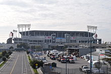 Overall view of the Coliseum as seen from the Coliseum BART station.
