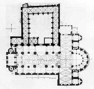Basilica of Our Lady, Maastricht - Church plan with cloisters