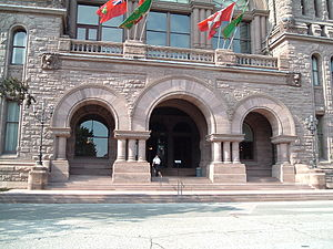 Moving Pictures (Rush album) - The Ontario Legislature in Queen's Park, Toronto, pictured on the album's front cover