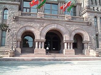 Moving Pictures (Rush album) - The Ontario Legislature in Queen's Park, Toronto, pictured on the album's front cover