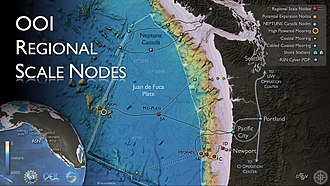 Ocean Observatories Initiative - The OOI Regional Scale Nodes focus on two primary study sites (Hydrate Ridge and Axial Seamount) with the potential for future expansion to other sites. Credit: OOI Regional Scale Nodes program and Center for Environmental Visualization, University of Washington.  Disclaimer: all data are subject to revision without notice.