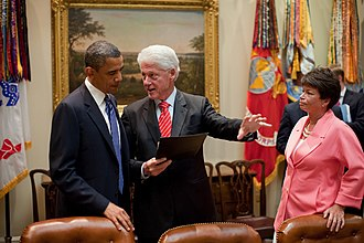 Presidency of Barack Obama - Obama speaking with former President Bill Clinton and Senior Advisor Valerie Jarrett about job creation in July 2010