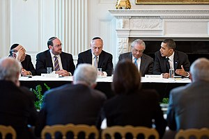 Timeline of the presidency of Barack Obama (2011) - March 1: Obama meets with leaders of Major American Jewish Organizations, including Malcolm Hoenlein (center, looking down).