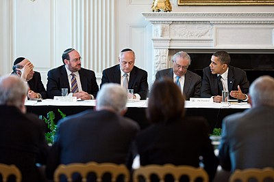 Democratic President Barack Obama at a Conference of Presidents of Major American Jewish Organizations Obama and Conference of Presidents of Major American Jewish Organizations.jpg