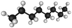 Octane, a hydrocarbon found in petroleum, lines are single bonds, black spheres are carbon, white spheres are hydrogen