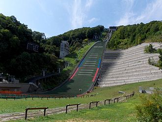 Okurayama Ski Jump Stadium - The ski jump in the stadium. The blue line is P-spot, and red line indicates K-spot.