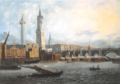 Old London Bridge with Fishmongers' Hall by Joseph Nicolls, c.1800.png