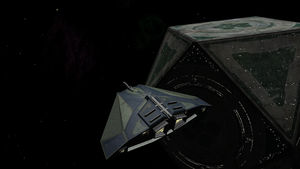A Cobra Mk. III near a Coriolis station in Oolite