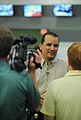 Orlando Hernandez is interviewed about approach of Hurricane Ike.jpg