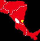 O. dimidiatuksen (keltainen) alue Keski-Amerikassa