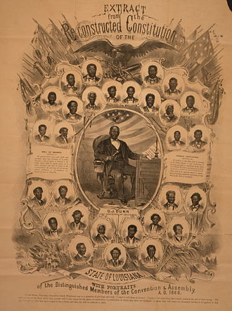 Oscar Dunn - Portraits of African-American delegates to the Louisiana Constitutional Convention, 1868. Dunn, in the centre, is pictured seated at his desk.