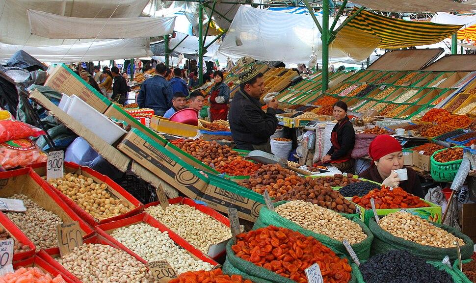 Osh Bazaar in Bishkek, Kyrgyzstan- dried fruits and nuts
