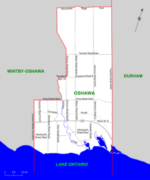 Oshawa (electoral district) - Map of Oshawa riding (2003 boundaries)