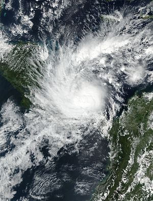 Hurricane Otto - Tropical Storm Otto intensifying to the north of Panama on November 22