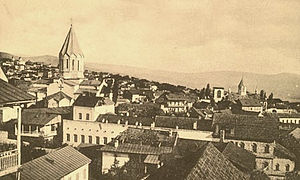 Ghazanchetsots Cathedral - A general view of Shusha and the cathedral, early 20th century