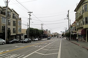 L Taraval - Painted safety zone added at Taraval and 19th Avenue in 2017