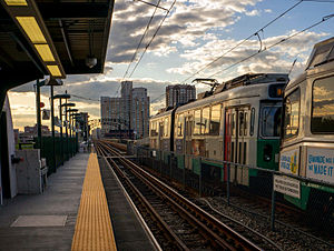 Green Line (MBTA) - A train at Science Park station on the Lechmere Viaduct