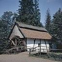Overzicht, molen is sinds 1963 in het Openluchtmuseum te Bokrijk, Genk, te zien, afkomsig uit het dorpje Ellikom, Noord-Limburg - Bokrijk - 20367712 - RCE