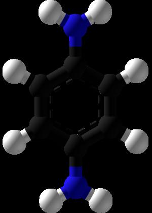P-Phenylenediamine - Image: P Phenylenediamine Ball and Stick