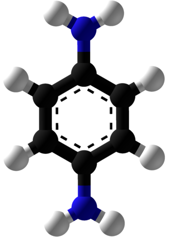 P-Phenylenediamine - Image: P Phenylenediamine Ball and Stick