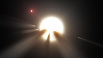 KIC 8462852 - Artist's impression of an orbiting swarm of dusty comet fragments