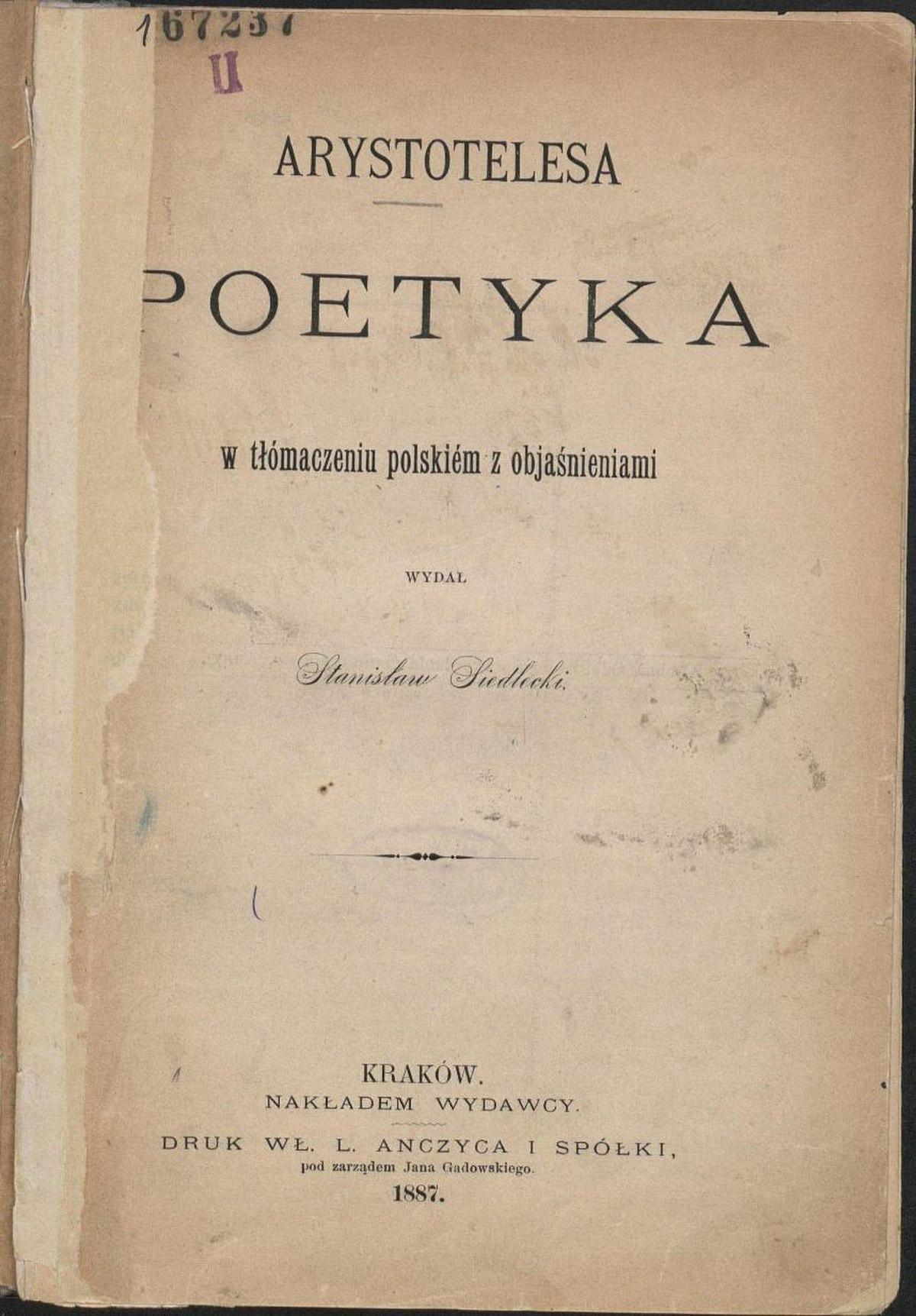 Poetyka Arystoteles Wikipedia Wolna Encyklopedia