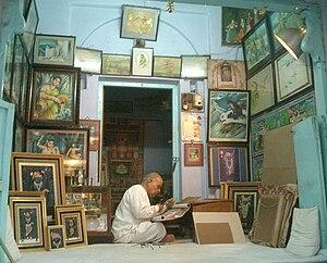 Nathdwara - A painter at work, Nathdwara.