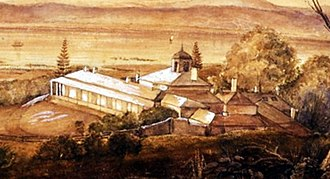 Lake Innes House Ruins - Oil painting of Lake Innes house in 1839 when it was at the peak of its productivity