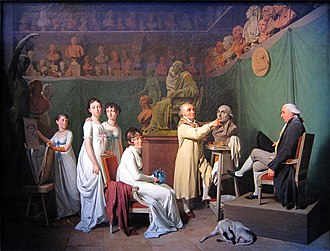 Jean-Antoine Houdon - Jean-Antoine Houdon at work in his atelier, 1804, by Louis-Léopold Boilly, Musée des Arts Décoratifs, Paris.