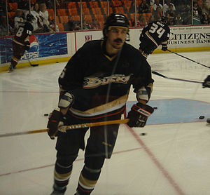 George Parros - George Parros of the Anaheim Ducks during a pre-game warm-up in 2007.