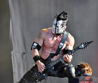 """Doyle Wolfgang von Frankenstein - Doyle performing with Danzig at Wacken Open Air 2013 with his custom-made """"Annihilator"""" guitar"""