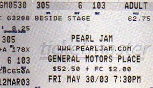 Riot Act Tour - Image: Pearl Jam Ticket 2003