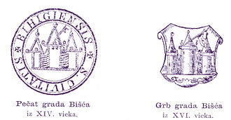 Bihać - The Seal and Armorial Bearings of Bihać town from the 14th century.