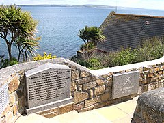 The lifeboat memorial adjacent to the original Penlee Lifeboat Station, from which Solomon Browne was launched