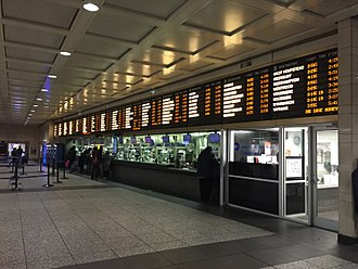 Long Island Rail Road - The LIRR Penn Station ticket counter displays all locations served by the railroad.