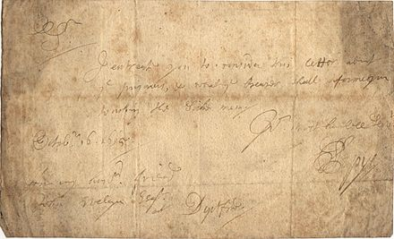 "A short letter from Samuel Pepys to John Evelyn at the latter's home in Deptford, written by Pepys on 16 October 1665 and referring to ""prisoners"" and ""sick men"" during the Second Dutch War PepysLetter.jpg"