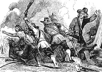 Pequot War - A 19th-century engraving depicting an incident in the Pequot War