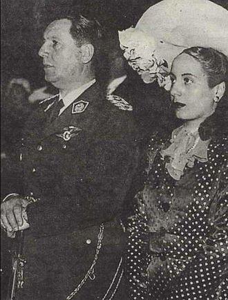 Juan Perón - Juan and Eva Perón at their 1945 wedding
