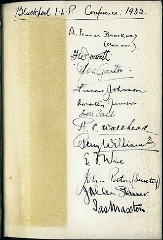 "Dedication in a book by Fred Henderson (""The Economic Consequences of Power Production"") with the personal signatures of some members of the ILP Personal signatures of some members of the ILP.jpg"