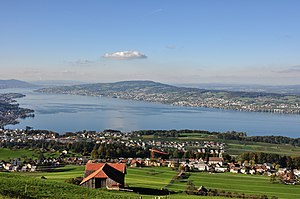 Pfannenstiel (Zürich) - Pfannenstiel (background centre) and Lake Zürich from the Etzel