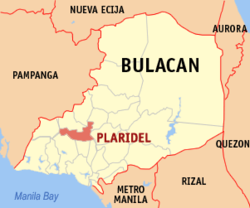 Map of Bulakan showing the location of Plaridel.
