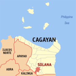 Map of Cagayan with Solana highlighted
