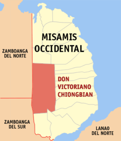 Map of Misamis Occidental with Don Victoriano Chiongbian highlighted